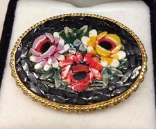 1950's Micro Mosaic Handmade Brooch - Floral, Rose Design. Made in Italy
