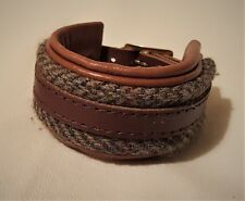 Hand Crafted Chunky Tan Leather Wrist Cuff with Harris Tweed