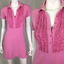051c7b43 $178 Lilly Pulitzer Women's XS Pink Pima Cotton Polo Ruffle Shirt Dress  Stretch