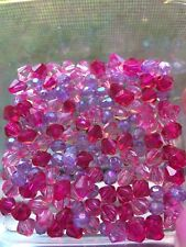 150 piece 8 mm Acrylic Faceted BICONE Beads BABY PINK FUCHSIA PURPLE Transparent