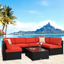 7PC Patio Wicker Sofa Set Garden Outdoor Sectional Furniture PE Rattan Lounge
