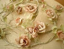 ROSE GARLAND 13 LIGHT PINK FLOWERS 165 CM ON WIRE FOR WEDDING DECORATION BEDROOM