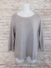Philosophy Womens Blouse M Casual Solid Taupe Long Sleeve Rayon Knit Top Sweater