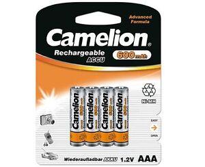 4 x Camelion AAA Micro HR03 600mAh Telefon NiMH Akkus Accus 1,2 V 4 Stück