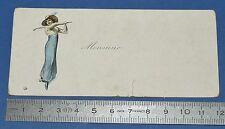 RARE CHROMO CARTON CARTE NOM 1895-1905 GOLF GOLFEUSE GOLFING