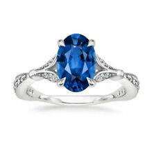 2.56 Ct Diamond Sapphire & 14k White Gold Blossom Ring