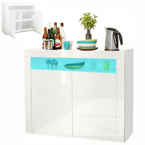 LED Sideboard Cabinet Storage Cupboard 2 Doors Unit High Gloss Front Dining Room