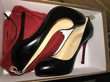 New Christian Louboutin Black/Gold Heels Gemma 100 Kid 39 (8.5)