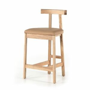 """36"""" H Nicolao Rustic Light Brown Counter Stool Chair Pink T Frame Back Leather"""