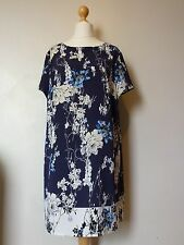 V by Very Floral Printed Tunic Keyhole Back Dress Size 18 Navy UK FREEPOST