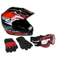 Lunatic Youth MX / ATV Helmet, Goggles & Gloves - DOT Approved - Boys Girls Kids