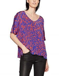 J. Lindeberg Erin Blouse Top Drape Baggy 100% Silk Blue Coral Oriental 8-14 NEW