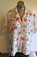 Christie & Jill Womens XLarge Lined Fitted White Pink Roses Short Sleeve Blouse