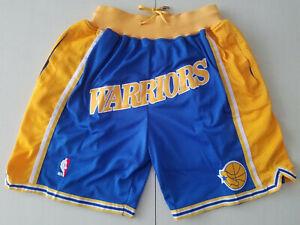 New Golden State Warriors Blue Retro Men Basketball Shorts Size:S-XXL