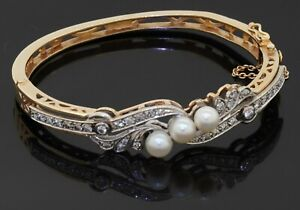 Heavy antique 14K yellow gold 1.40CT diamond & pearl bangle bracelet