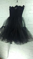 New Ex Branded Boned Bustier Netted Prom Goth Dress sz 6 uk In Black
