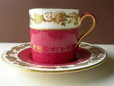 NICE 1st QUALITY WEDGWOOD WHITEHALL RUBY COFFEE CAN & SAUCER W3994
