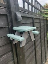 Squirrel Picnic Table and Bird Feeder, Small. Grey and Duck Egg - made in the UK