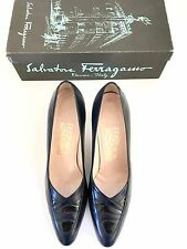 "Vintage SALVATORE Ferragamo NAVY BLUE Pumps Women's 9.5 2 3/4"" Heels  Box Italy"