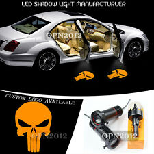 2x Orange Punisher Skull Symbol Logo LED Car Projector Ghost Shdow Light 3D Show