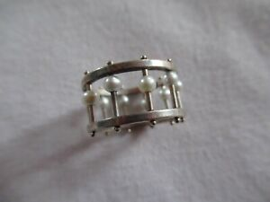 ARTISAN SIGNED STERLING SILVER & PEARL RING SIZE 5 3/4