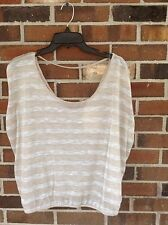 NWT Ladies Junior Small Sheer Cream Silver Striped Top Deep V-Neck One Clothing