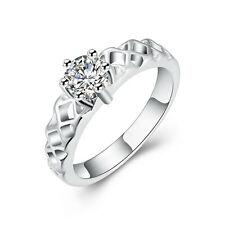 Silver Plated Hollow Zircon prom bridal engagement ring 17.5 mm size O FR242