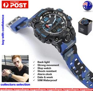 SMAEL 1545 BLUE CAMO Shock Waterproof Military Men's Analog Quartz Digital Watch
