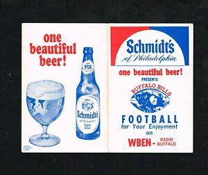1967 Buffalo Bills Schmidt's of Philadelphia Beer AFL Football Pocket Schedule