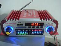 Mini HiFi Digital FM Radio USB SD Audio MP3 Player Car Power Amplifier HY601 Red