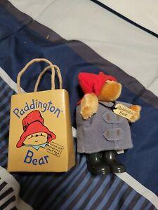 "Vintage 1987 Paddington Bear 5"" Plush Figure with Eden Gift Bag Toy red Hat"