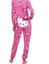 HELLO KITTY Drop Seat Onesie Adult Union Suit Fleece Pajamas One Piece Back Flap