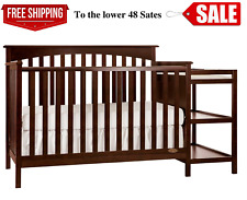 5 in 1 Side Convertible Crib Changer Nursery Furniture Baby Toddler Bed, New