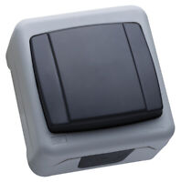 Feuchtraum Schalter Wechselschalter, Aufputz, IP55, dunkelgrau