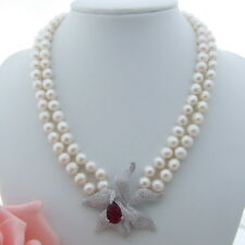 AB062607 2Strands 8.5mm White Pearl Necklace CZ Pendant