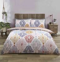 MOROCCAN-STYLE GEOMETRIC BLUSH PINK COTTON BLEND DOUBLE DUVET COVER
