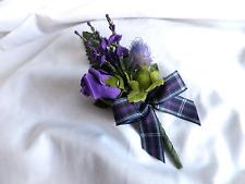 SCOTTISH WEDDING BUTTONHOLE~ARTIFICIAL PURPLE HEATHER/THISTLE/ROSE~TARTAN RIBBON