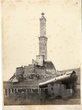 Italie, Genova, Le Phare  Vintage albumen print.  Tirage albuminé  21x27