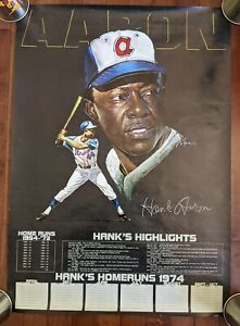 Vintage Large Hank Aaron Home Run Highlights Tracking Poster 1974 Braves *RARE*