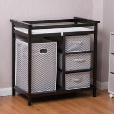 Wood Infant Baby Changing Table w/3 Basket Hamper Diaper Storage Nursery New
