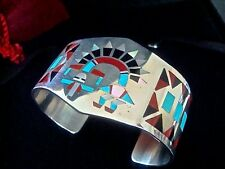 American Indian Jewelry Dancing Rainbow Kachina Bracelet F.L. Natachu Inlay Zuni