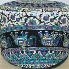 "18"" Elephant Mandala Indian Pouf Cover Footstool Cotton Seat Ottoman Cover Throw"