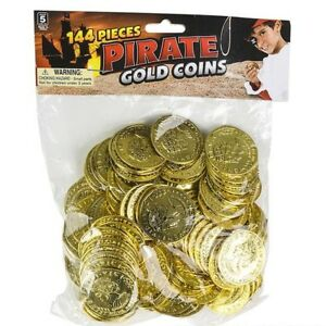 144 PLASTIC GOLD COINS PIRATE TREASURE CHEST PLAY MONEY BIRTHDAY PARTY FAVORS