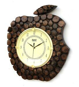 "Wooden Wall Clock Wood Craft Art Hand Crafted Apple shape Handicraft 7"" Dial"
