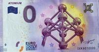 BILLET 0  EURO  ATOMIUM BRUSSELS BELGIQUE   2017 NUMERO 10000 DERNIER