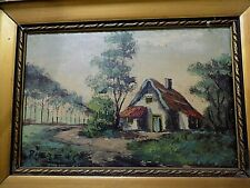 Gorgeous Old Dutch Painting, Scene of Old Dutch House and Trees, by Pieters