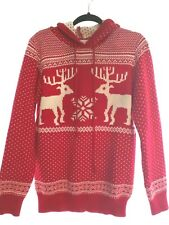 Men/ Women Nordic Merry Christmas  pullerover sweater Red Hoodie String- L / XL