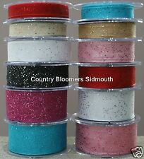 Berisfords ~ Wired Edge Sparkle Glitter Sheer Organza Ribbon ~ 15mm 25mm 40mm ~