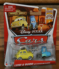 2013 Disney Pixar Cars Die Cast Wheel Well Motel Luigi Guido Shaker Glasses NEW
