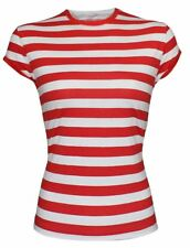 Womens Red and White Stripped T Shirt Cape Sleeve Cotton Book Week Top Tees